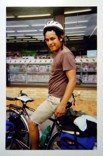 Daniel in Japan on a bicycle